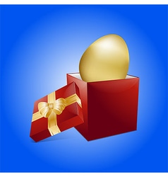 Easter golden egg and gift box vector
