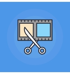 Scissors and film shot icon vector