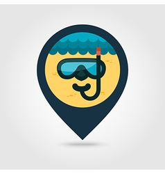 Diving mask pin map icon summer vacation vector