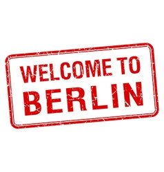 Welcome to berlin red grunge square stamp vector