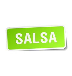 Salsa green square sticker on white background vector