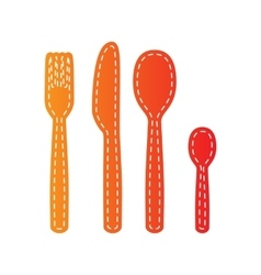Fork spoon and knife sign orange applique vector