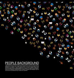 Big people crowd on black background vector