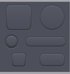 black blank buttons round oval square shaped vector image