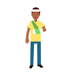 black man with arm in a plaster and bandage on his vector image vector image