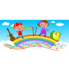 Cartoon musical instruments and children vector