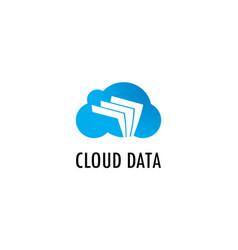 cloud data paper logo vector image