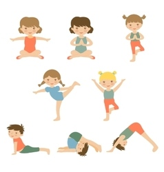 Cute yoga kids vector image vector image