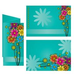 Dark blue background colorful flowers leaflet vector