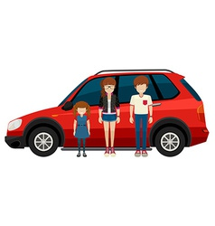Family and car vector