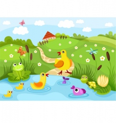 Farm pond vector