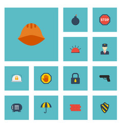 flat icons parasol road sign hardhat and other vector image vector image