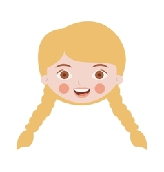 Front face blond girl with braided hair vector