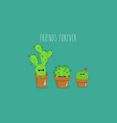 funny cactus stickers can be vector image vector image