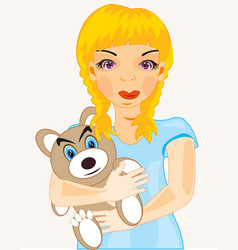 Girl with toy vector