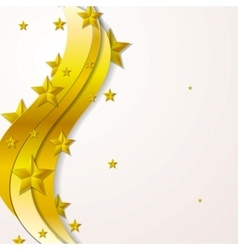 Golden waves and stars background vector image