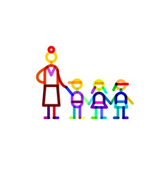 group educator and three kids symbol kindergarten vector image