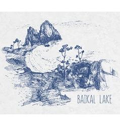 hand drawing landscape of sacred Baikal Lake vector image
