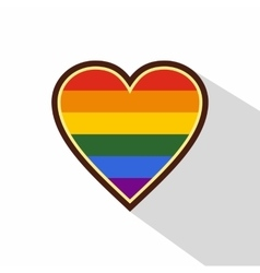 Heart in LGBT color icon flat style vector image vector image