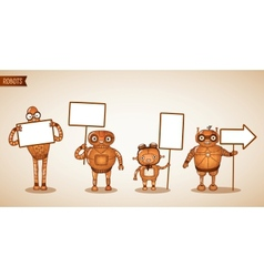 Icons of intelligent machines holding signs vector image vector image