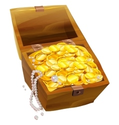 Open old chest with gold coins and pearls Pirate vector image