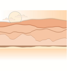 paper desert mountain landscape with shadows vector image