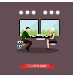 Passengers in train restaurant railway car vector