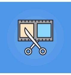 Scissors and film shot icon vector