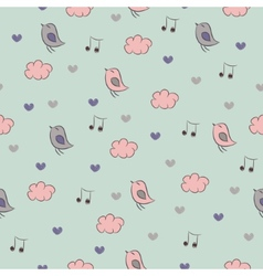 Seamless pattern with birds hearts clouds and vector image