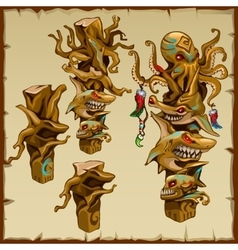 Set of totems with shark and octopus hesds vector image vector image