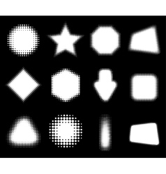 Set of White 12 Abstract Halftone Design Elements vector image vector image