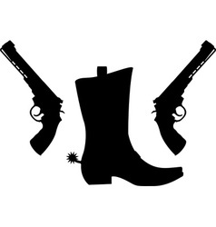 silhouette of pistols and boot with spurs vector image vector image