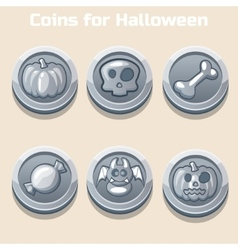 Silver coins for halloween vector