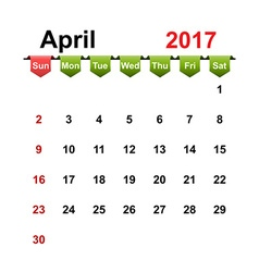 Simple calendar 2017 year april month vector