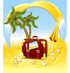 Suitcase for summer at the beach vector