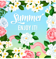 Summer time flowers greeting card vector