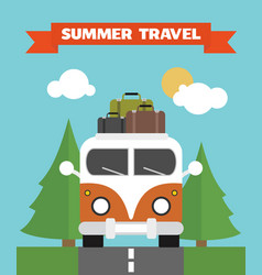 Summer travel flat background with bus vector