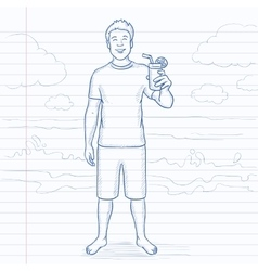 Tourist with cocktail on the beach vector