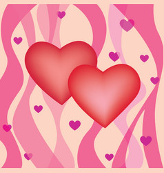 Valentines day greeting background two hearts in vector