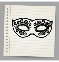 Vintage mask doodle vector