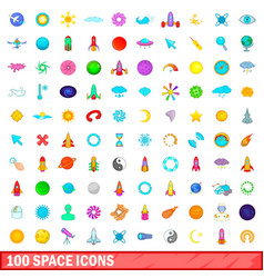 100 space icons set cartoon style vector