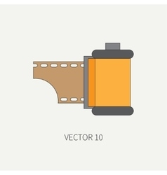 Line flat icon with film for retro analog vector