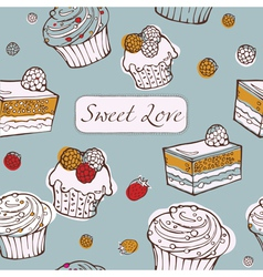 Seamless background with cakes sweet love card vector