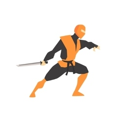 Japanese ninja with katana sword martial arts vector