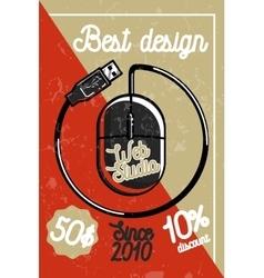 Color vintage web studio banner vector image
