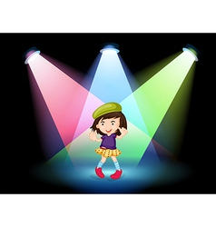 A stage with a young girl dancing vector