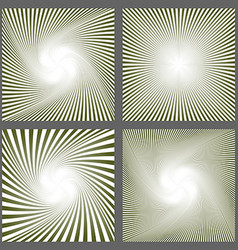 Abstract spiral ray and starburst background set vector