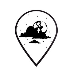 black silhouette mark icon pointer gps with moon vector image
