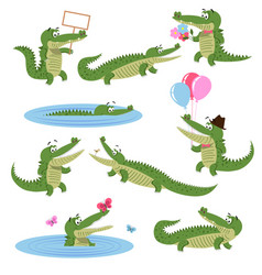 Crocodile daily activities set cartoon predator vector