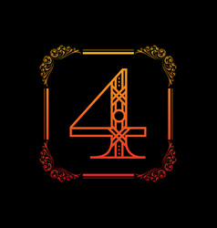 number 4 with ornament vector image